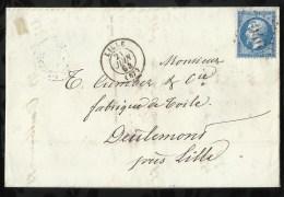 ENVELOPPE DATEE DU 21 JUIN 1864 AU DEPART DE LILLE  A DESTINATION DE DEULEMONT . - 1849-1876: Période Classique