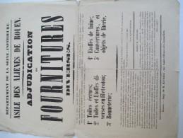 Asile Départemental Des Aliénés/Seine-Inférieure/Adjudication De Fournitures Diverses/Rouen/1847  AFF22 - Affiches