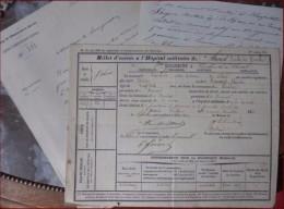NIVELLES LEUVEN - Billet D'entrée D'un Chasseur A Cheval à L'Hopital Civil 1860 ( 3 Scans) - Chasseurs à Cheval - 121 - Documenti Storici