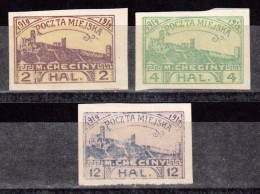 POLOGNE - POLAND - POLSKA - Trois Timbres - Poste Locale CHECINY 1919 - NEUFS - ....-1919 Gouvernement Provisoire