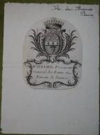 Ex-libris Héraldique XVIII - Français - Mr JULLIEN Procureur Général Des Eaux Et Forests De France - Ex Libris
