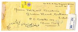 Indien HYDERABAD DECCAN 18.2.1946 R-Brief Nach Bombay Mit Defekter Vignette Rücks. 14 St. 4p.  - Gebrauchs Spuren - Hyderabad