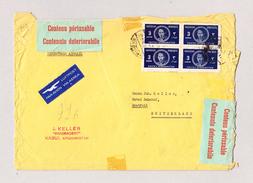 """Afghanistan Firmen Luftpost R-Brief 22.8.1949 Kaboul Nach Erstfeld Mit Veraschlussetiketten """"Verderblicher Inhalt"""" - Afghanistan"""