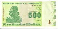 ZIMBABWE 500 DOLLARS  2009 UNC P 98 - Zimbabwe