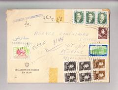 """Iran 2.4.1960 Téhéran R-Brief """"Courrier Diplomatique"""" Gesandtschaft Der Schweiz In Iran Nach Kabul Afghanistan - Iran"""