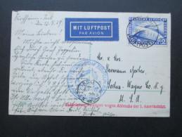 AK Beförderung Verzögert Wegen Abbruchs Der 1. Amerikafahrt 1929. Luftschiff Graf Zeppelin. EF 423. Luftpost In Die USA - Briefe U. Dokumente