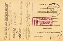 Kriegsgefangenen-Stammlager LIMBURG A/L. Avec Cachet Noir Du 12.9.18 Et Cachet De Censure Rouge - Guerra De 1914-18