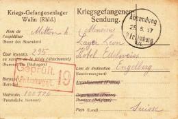 Kriegsgefangenen-Stammlager LIMBURG A/L. Avec Cachet Noir Du 25.5.17 Et Cachet De Censure Rouge - Guerra De 1914-18