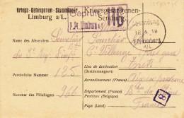 Kriegsgefangenen-Stammlager LIMBURG A/L. Avec Cachet Noir Du 18.4.18 Et Cachet De Censure Bleu - Guerra De 1914-18