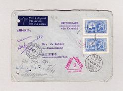 Afghanistan Kaboul 20.11.1939 Zensur Pechawar Luftpost Brief Nach Rüti Zh Weiter Feldpost Transit-O CP Sapeurs Mont 10 - Afghanistan