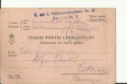 AUSTRIA , HUNGARY    --  TABORI POSTAI, DOPISNICA ZA BOJNU POSTU   --  K.u.K FELDKANONENREGIMENT No. 37, BATERIE No. 2 - 1914-18