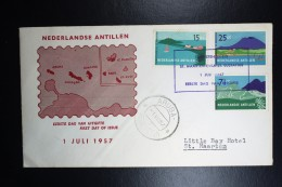 Nederlandse Antillen  FDC E2  NVPH Nr 262 - 264  1957 Gesloten Flap Lichte Diagonale Vouw - Curaçao, Nederlandse Antillen, Aruba