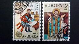 Andorra Span. 96/7 Oo/ESST, EUROPA/CEPT 1975, Romanische Gemälde Aus Der Kirche Von Ordino (12. Jh.)