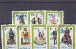 # 177 ARABIC COSTUMES, USED, EIGHT STAMPS, AJMAN, UNITED ARAB EMIRATES - Ajman
