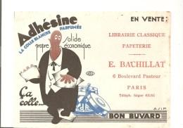 Buvard  Adhésine La Colle Blanche Parfumée Librairie Clasique E. Bachillat 6 Bld Pasteur à Paris - Stationeries (flat Articles)