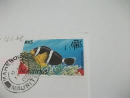 STORIA POSTALE FRANCOBOLLO COMMEMORATIVO PESCE FISH MAURITIUS LLE AUX CERFS  VELE  SPIAGGIA - Mauritius