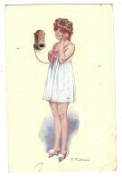 Illustrateur F. Fabiano - Fablanettes - FEMME En Nuisette Téléphonant - Serie 11, N°12 - Femmes