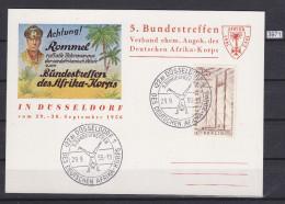 GERMANY 1956, BERLIN STAMP ON CARD 29. SEP. 1956, AFRIKA KORPS 1941 - 1943, ROMMEL, DESSERT FOX,  See Scans - Cartas