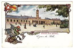 BASEL - GRUSS AUS BASEL - Badischer Bahnhof - Carte Colorisée - BS Bâle-Ville