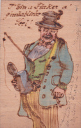 CARTE POSTALE ANCIENNE EN BOIS - PÊCHEUR - Allemagne - Andere