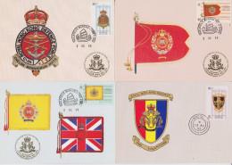 THE ROYAL HONG KONG REGIMENT (THE VOLUNTEERS) 1854-1995  LOT OF 6 FDC - MAXIMUM CARDS - CARTE-MAXIMUM - FLAG STAMP COVER - Maximum Cards