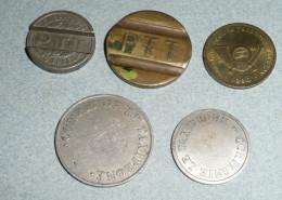 Lot De Jetons De Téléphone PTT France 1937, Le Taxiphone, Telefon Telegraf Pologne Polska 1990 - Monétaires / De Nécessité