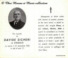 ITALIE - DAVIDE SICHERI - STENICO - MORTE - AVIS DE DECES - Décès