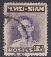 Thailand SG 321 1947 King Bhumibol 10 Baht Violet And Brown Used - Tailandia