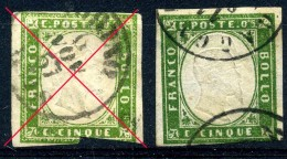 Sardaigne 1855-61 Y&T 10 ° (timbre De Droite) - Sardaigne