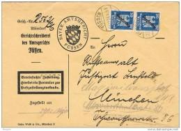 19191. Carta Service FUSSEN (Bayern)  1926. Service Oficial. REEXPEDITÉ - Oficial