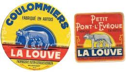 """2 étiquettes PETIT PONT L'EVEQUE & COULOMMIERS """"LA LOUVE"""" FROMAGERIE HUTIN-GERVAIS-VERRIER à WILLENCOURT (P De C° - Fromage"""
