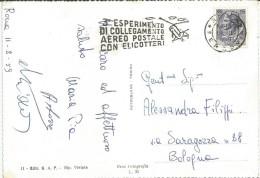 Targhetta Postale Meccanica 3° Esperimento Di Collegamento Aereo Postale Con Elicotteri, Roma 12.2.1959. - Elicotteri