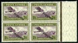 Albania, 1927. Scott #C13. SG #209. Michel #149. Air Mail Sheet Margin Block Of Four. Mint NH. - Albania