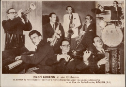 76 - ROUEN - CARTON PUBLICITAIRE De L'Orchestre Henri LEMENU - Publicités