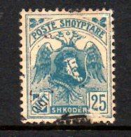 SS3056 - ALBANIA 1921 , 25 Q Bleu N. 117 Usato. - Albania