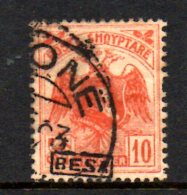 SS3055 - ALBANIA 1922 , 10 Q Rosso N. 129 Usato. - Albania