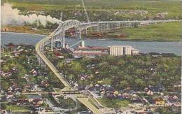 Michigan Ontario Aerial View of Blue Water International Bridge