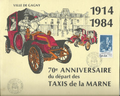 GAGNY-Plaquette 70 ème Anniversaire Du Départ Des Taxis De La Marne (cachet Poste Timbre Philatélie Militaria 1914-1984) - Documents Historiques