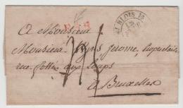 FP169 / Frankreich -  (Blois) H Nach Brüssel  Ca. 1840 - Poststempel (Briefe)