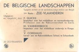 Mapje Met 20 Postkaarten De Belgische Landschappen 1ste Reeks Zee-Vlaanderen Wenduine Knokke De Panne Koksijde Oostende - Belgique