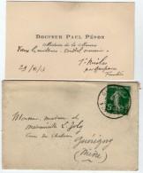 VP5441 - CDV - Carte De Visite & Enveloppe - Docteur Paul PENON Médecin De La Marine à SAINT NICOLAS ( Finistère) - Cartes