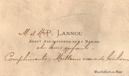VP5442 - CDV - Carte De Visite - Mr P.LANNOU Agent Administratif De La Marine à ROCHEFORT SUR MER - Cartes