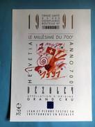 1772-  Suisse Le Millésime Du 700e 1991 Dézaley Blanc (chasselas) Illustartion Jean Tinguely - Art