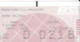 Ticket De Concert Johnny Halliday 5 Octobre 1982 - Tickets D'entrée