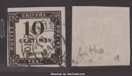10c Litho Oblitéré TB Et Signé (Y&T N° 1, Cote: 350€) - Postage Due