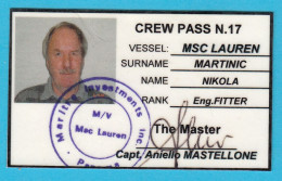 VESSEL MSC LAUREN ( Container Ship , Panama ) - CREW PASS N. 17 * ID Card - Boats