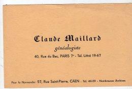 Sept16   76441  Buvard  Généalogiste  Claude Maillard    Paris & Caen - Blotters