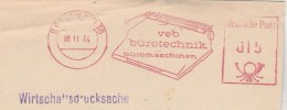 1964  TYPEWRITER West BERLIN GERMANY COVER  Illus SLOGAN Veb Burotechnik Buromaschinen METER  Stamps - Berlin (West)