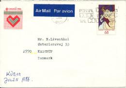 Canada Cover Sent To Denmark 1986 - 1952-.... Elizabeth II