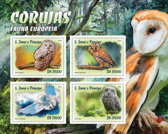 S. TOME & PRINCIPE 2016 - Owls Of Europe. Official Issue - Hiboux & Chouettes